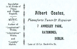 Business cards of Albert and Ernest Coates – Piano Tuners & Repairers